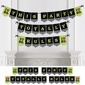 80's Retro - Personalized Totally 1980s Party Bunting Banner & Decorations