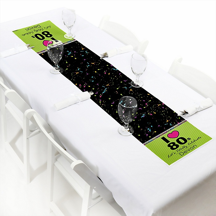 """80's Retro - Personalized Petite Totally 1980s Party Table Runner - 12"""" x 60"""""""