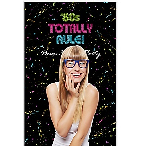 """80's Retro - Party Personalized Photo Booth Backdrops - 36"""" x 60"""""""