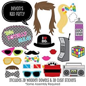 80's Retro - 20 Piece Photo Booth Props Kit