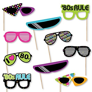 80's Retro Glasses - Paper Card Stock Totally 1980s Party Photo Booth Props Kit - 10 Count