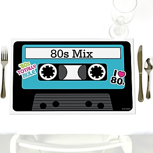80's Retro - Party Table Decorations - Totally 1980s Party Placemats - Set of 12