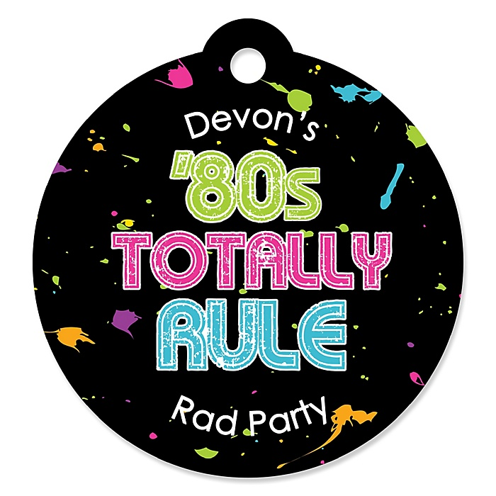 80's Retro - Personalized Totally 1980s Party Gift Tags - 20 ct