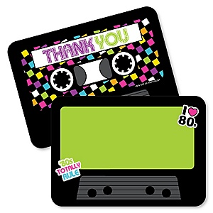80's Retro - Shaped Thank You Cards - Totally 1980s Party Thank You Note Cards with Envelopes - Set of 12