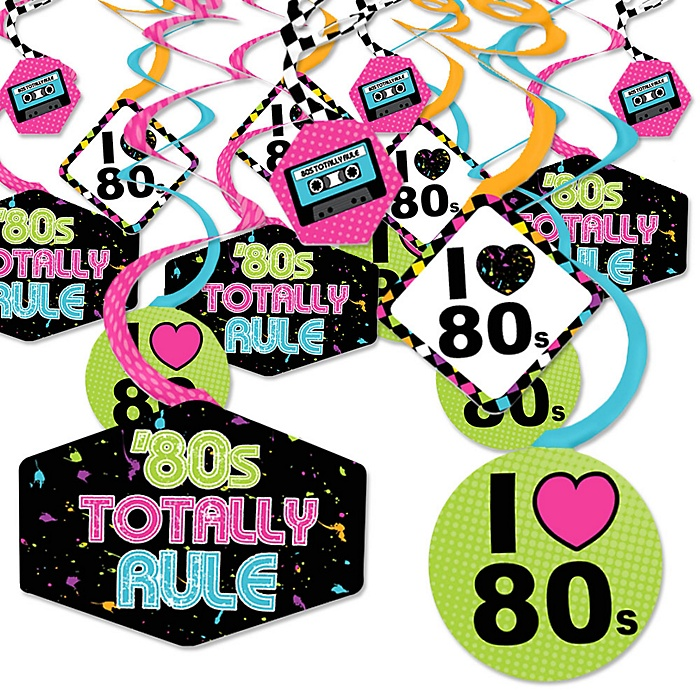 80's Retro - Totally 1980s Party Hanging Decor - Party Decoration Swirls - Set of 40