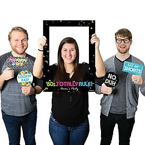 80's Retro - Personalized Birthday Party or Baby Shower Selfie Photo Booth Picture Frame & Props - Printed on Sturdy Material