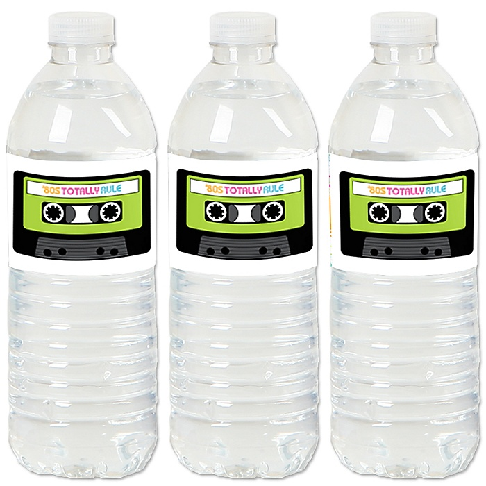 80's Retro - Totally 1980s Party Water Bottle Sticker Labels - Set of 20