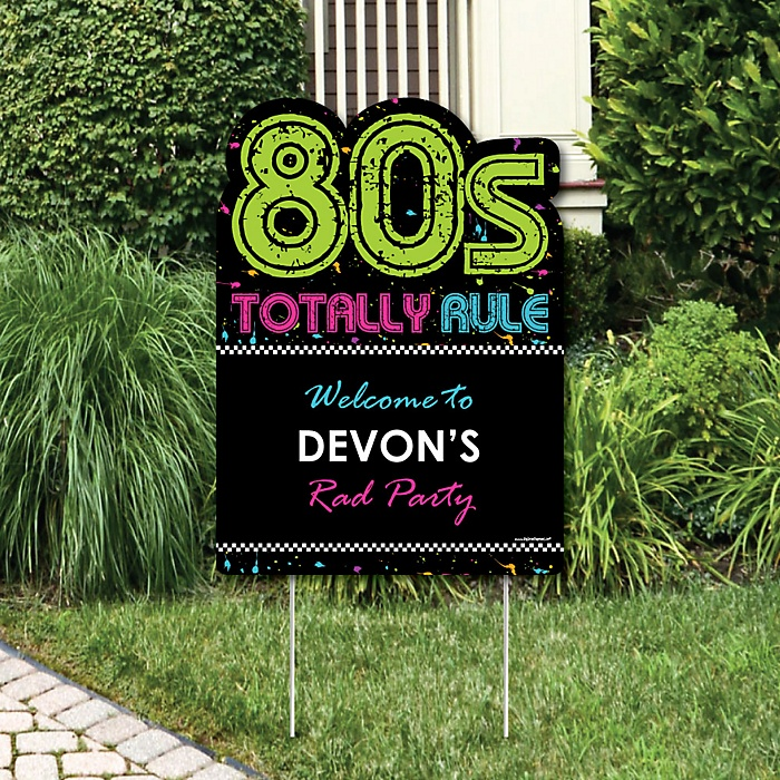 80's Retro - Party Decorations - Totally 1980s Party Personalized Welcome Yard Sign