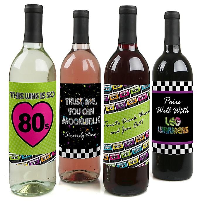 80's Retro - Totally 1980s Party Decorations for Women and Men - Wine Bottle Label Stickers - Set of 4
