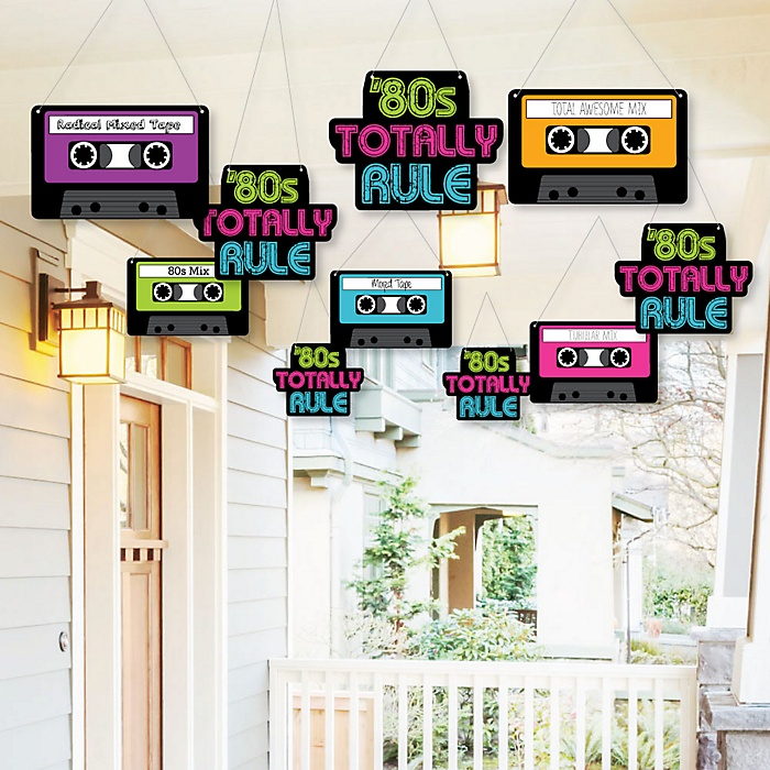 Hanging 80's Retro - Outdoor Totally 1980s Party Hanging Porch and Tree Yard Decorations - 10 Pieces