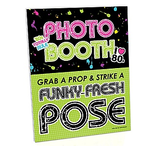 80's Retro Photo Booth Sign - Totally 1980s Party Decorations - Printed on Sturdy Plastic Material - 10.5 x 13.75 inches - Sign with Stand - 1 Piece