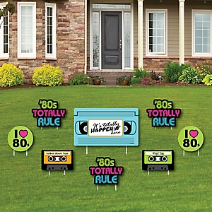 80's Retro - Yard Sign & Outdoor Lawn Decorations - Totally 1980s Party Yard Signs - Set of 8