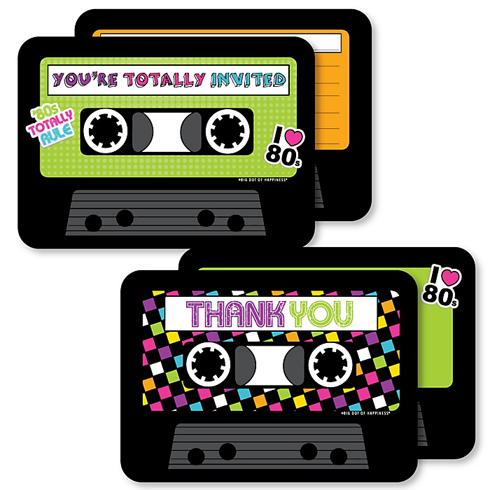80's Retro - 20 Shaped Fill-In Invitations and 20 Shaped Thank You Cards Kit - Totally 1980s Party Stationery Kit - 40 Pack