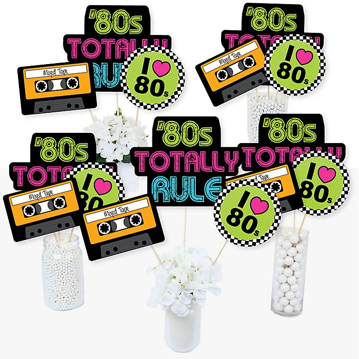 80's Retro - Totally 1980s Party Centerpiece Sticks - Table Toppers - Set of 15
