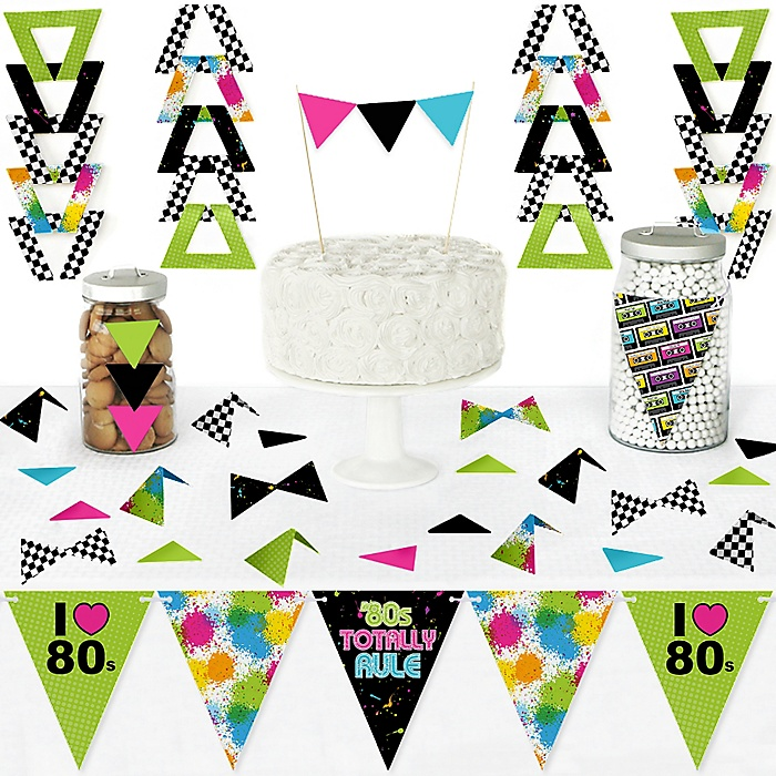 80's Retro - DIY Pennant Banner Decorations - Totally 1980s Party Triangle Kit - 99 Pieces