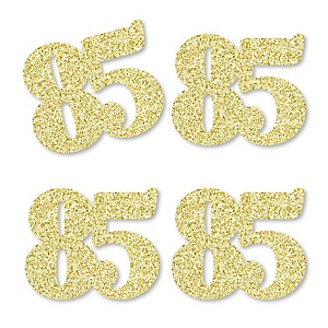 Gold Glitter 85 - No-Mess Real Gold Glitter Cut-Out Numbers - 85th Birthday Party Confetti - Set of 24