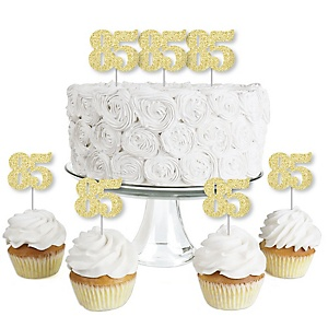 Gold Glitter 85 - No-Mess Real Gold Glitter Dessert Cupcake Toppers - 85th Birthday Party Clear Treat Picks - Set of 24
