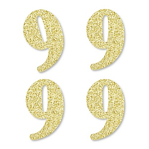 Gold Glitter 9 - No-Mess Real Gold Glitter Cut-Out Numbers - 9th Birthday Party Confetti - Set of 24