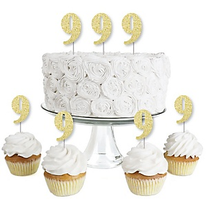 Gold Glitter 9 - No-Mess Real Gold Glitter Dessert Cupcake Toppers - 9th Birthday Party Clear Treat Picks - Set of 24