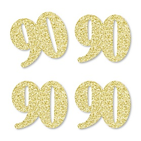 Gold Glitter 90 - No-Mess Real Gold Glitter Cut-Out Numbers - 90th Birthday Party Confetti - Set of 24