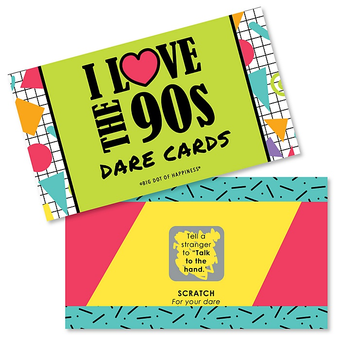 90's Throwback - 1990s Party Scratch Off Dare Cards - 22 Cards