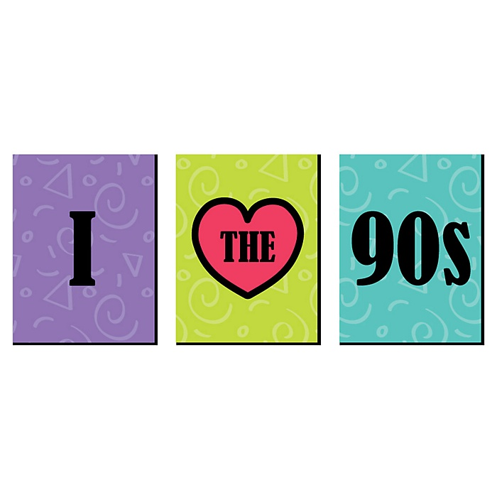 90's Throwback - 1990s Wall Art, Room Decor and 90's Themed Room Home Decorations - 7.5 x 10 inches - Set of 3 Prints