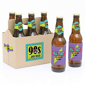 90's Throwback - 1990s- 6 Beer Bottle Label Stickers and 1 Carrier