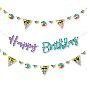 90's Throwback - 1990's Birthday Party Letter Banner Decoration - 36 Banner Cutouts and Happy Birthday Banner Letters