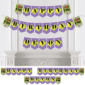 90's Throwback - Personalized 1990s Birthday Party Bunting Banner & Decorations