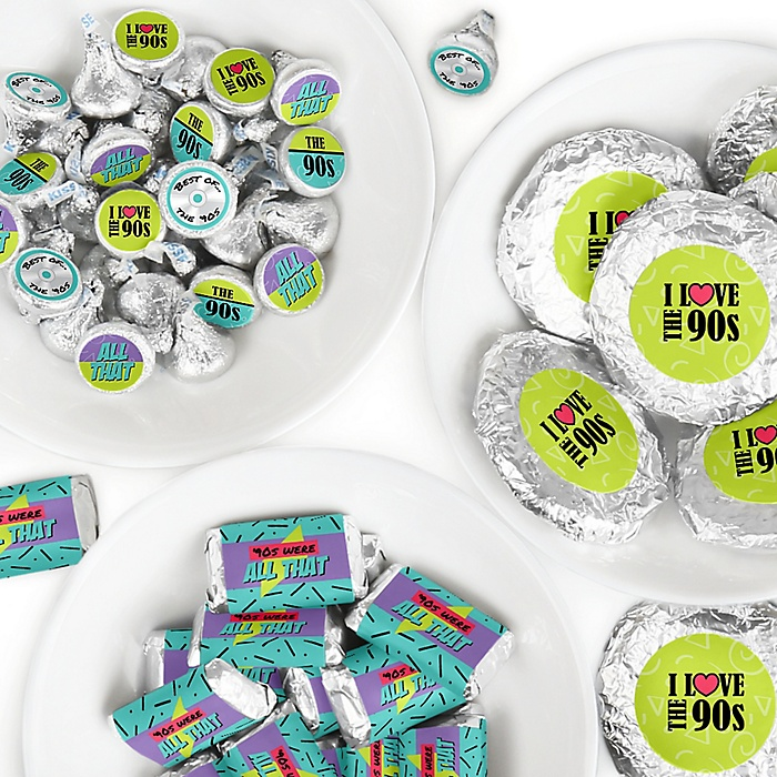90's Throwback - Mini Candy Bar Wrappers, Round Candy Stickers and Circle Stickers - 1990s Party Candy Favor Sticker Kit - 304 Pieces