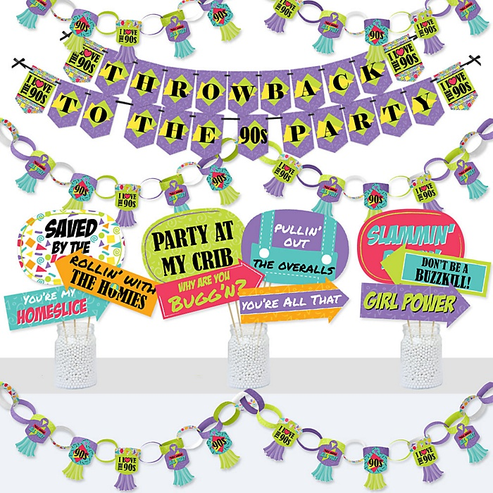 90's Throwback - Banner and Photo Booth Decorations - 1990s Party Supplies Kit - Doterrific Bundle
