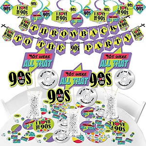 90's Throwback - 1990s Party Supplies - Banner Decoration Kit - Fundle Bundle