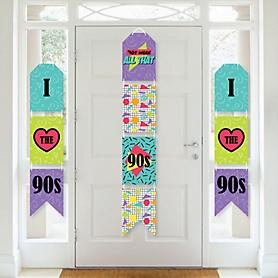 90's Throwback - Hanging Vertical Paper Door Banners - 1990s Party Wall Decoration Kit - Indoor Door Decor