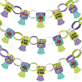 90's Throwback - 90 Chain Links and 30 Paper Tassels Decoration Kit - 1990s Party Paper Chains Garland - 21 feet