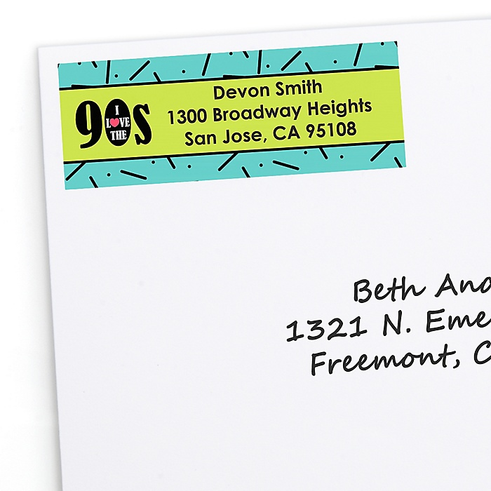 90's Throwback - Personalized 1990s Party Return Address Labels - 30 ct