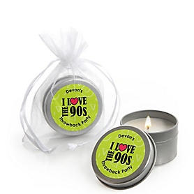 90's Throwback - Personalized 1990s Party Candle Tin Favors - Set of 12