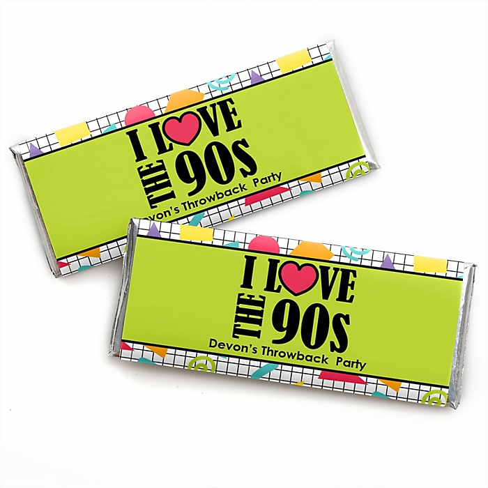 90's Throwback - Personalized Candy Bar Wrapper 1990s Party Favors - Set of 24