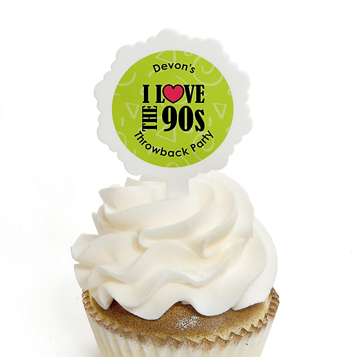 90's Throwback - 12 Cupcake Picks & 24 Personalized Stickers - 1990s Party Cupcake Toppers