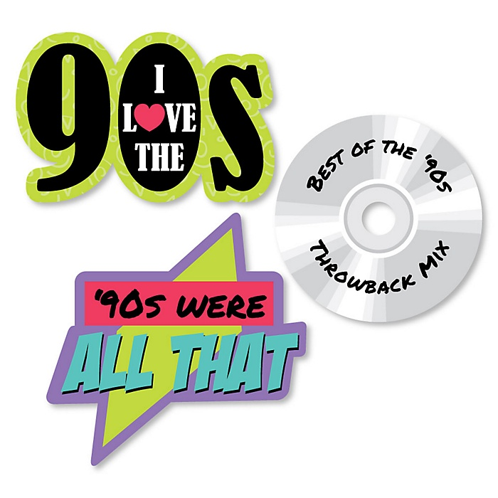 90's Throwback - DIY Shaped 1990s Party Cut-Outs - 24 ct