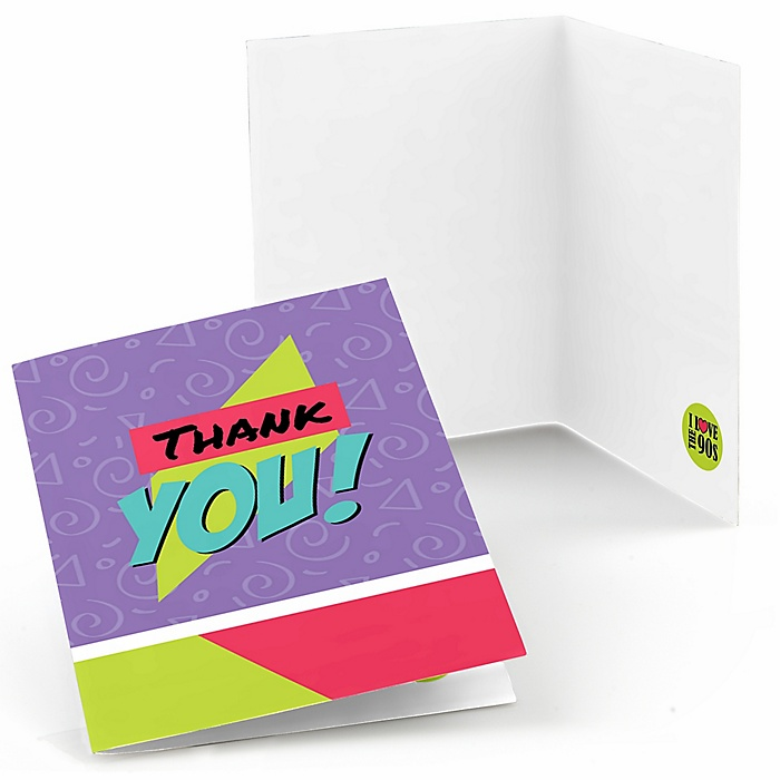 90's Throwback - Set of 8 1990s Party Thank You Cards