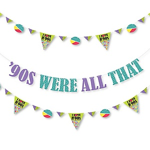 90's Throwback - 1990's Party Letter Banner Decoration - 36 Banner Cutouts and '90s Were All That Banner Letters