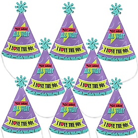 90's Throwback - Mini Cone 1990s Party Hats - Small Little Party Hats - Set of 8