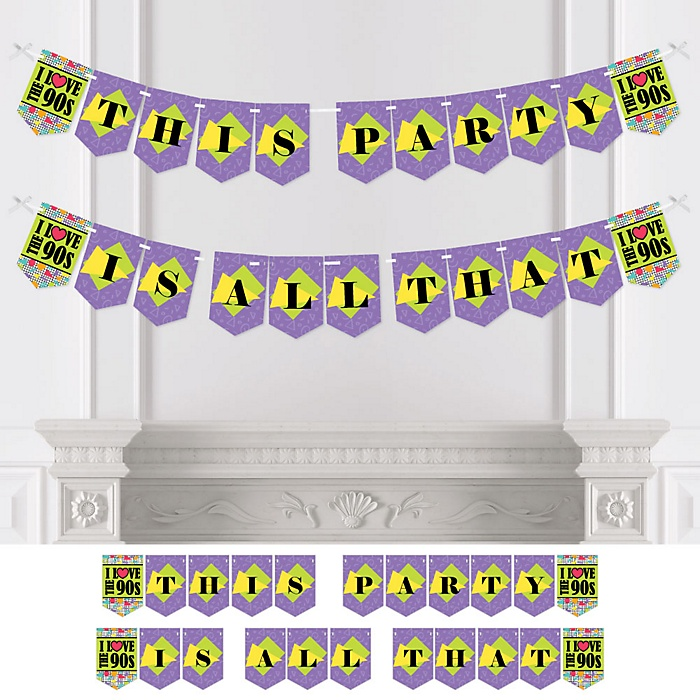 90's Throwback - Personalized 1990s Party Bunting Banner & Decorations