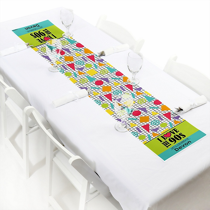 """90's Throwback - Personalized Petite 1990s Party Table Runner - 12"""" x 60"""""""