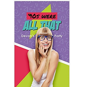 "90s Throwback - 1990s Party Photo Booth Backdrops - 36"" x 60"""