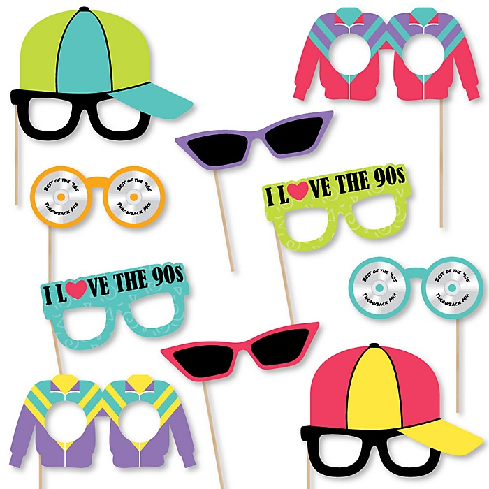 90's Throwback Glasses - Paper Card Stock 1990s Party Photo Booth Props Kit - 10 Count
