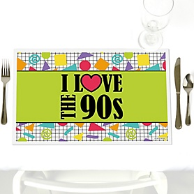 90's Throwback - Party Table Decorations - 1990s Party Placemats - Set of 12
