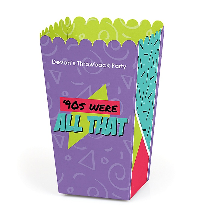 90's Throwback - Personalized 1990s Party Popcorn Favor Treat Boxes - Set of 12