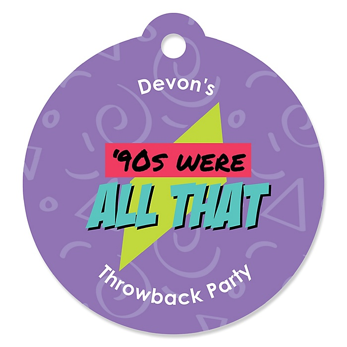 90's Throwback - Personalized 1990s Party Gift Tags - 20 ct