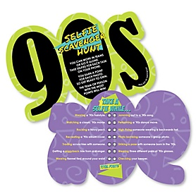 90's Throwback - Selfie Scavenger Hunt - 1990s Party Game - Set of 12